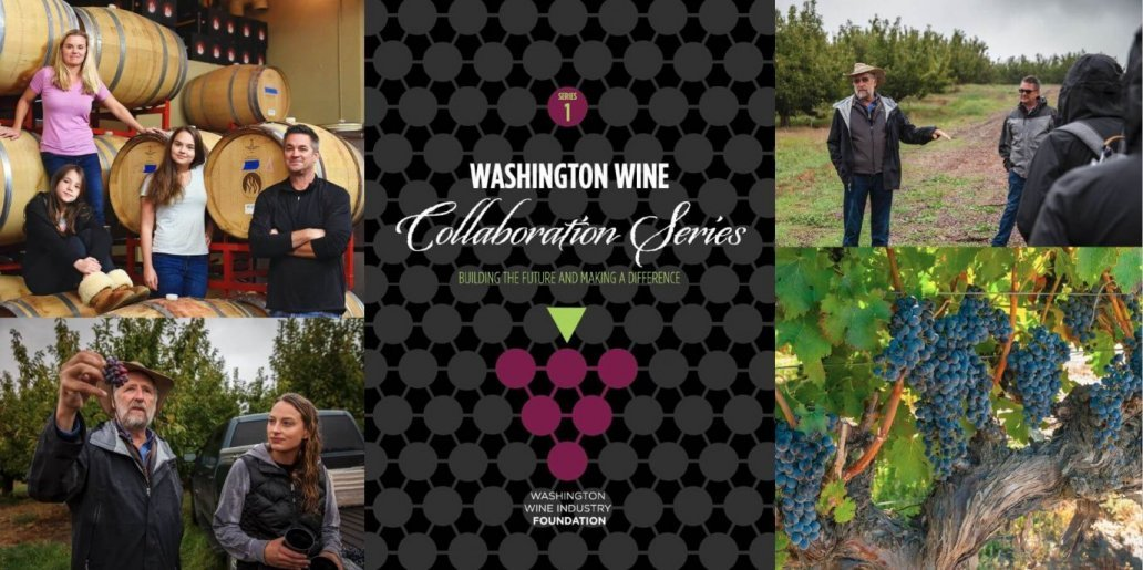Washington Wine Collaboration Series #1 label + pictures of the grapes, grower, and winemaker with family