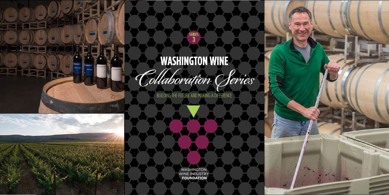 Washington Wine Collaboration Series #3 label + pictures of the vineyard, winemaker crushing grapes, and bottles of wine in cellar with wine barrels